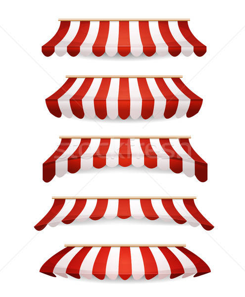 Striped Awnings For Market Store Stock photo © benchart