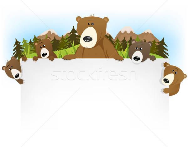 Foto stock: Bonitinho · tenha · família · ilustração · engraçado · desenho · animado