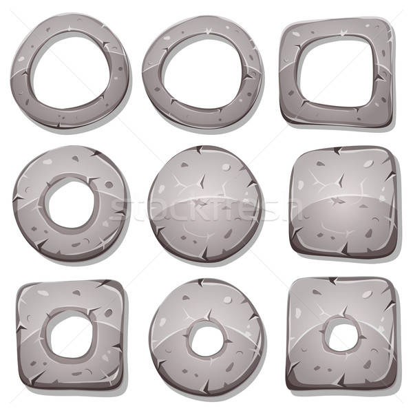 Stone Rings, Circles And Shapes For Ui Game Stock photo © benchart
