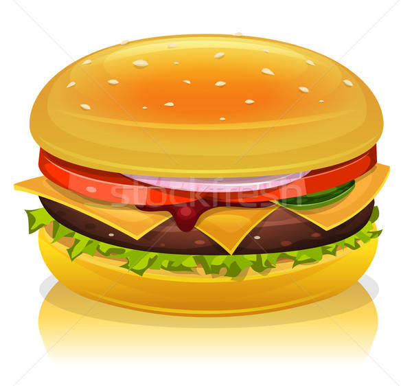 Hamburguesa icono ilustración Cartoon de comida rápida cebolla Foto stock © benchart