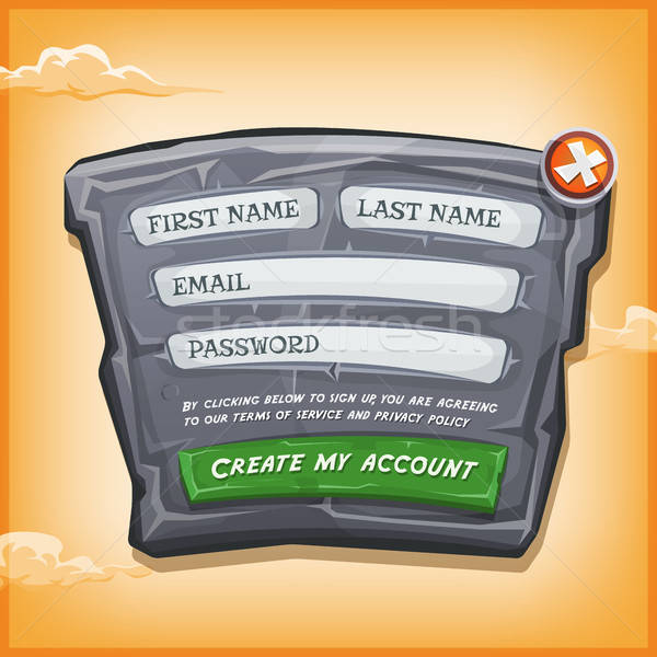 Login Form On Stone Panel For Ui Game Stock photo © benchart