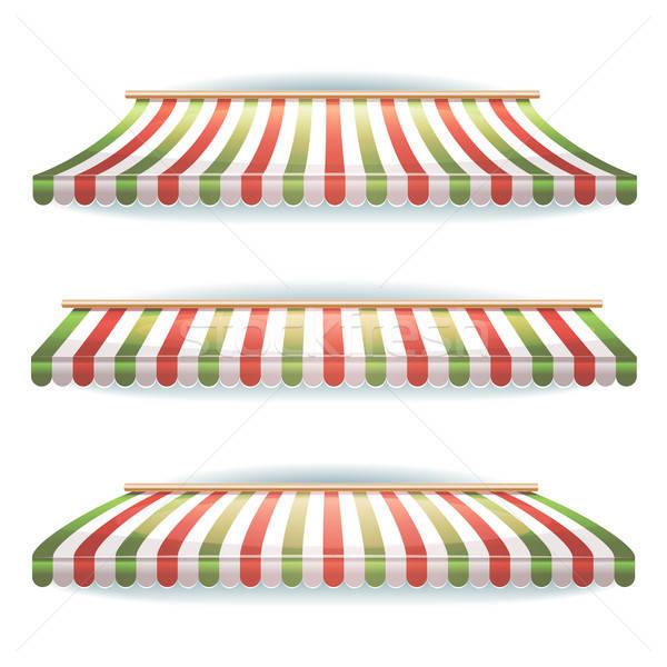 Striped Italian Awnings Set For Italian Pizzeria Stock photo © benchart