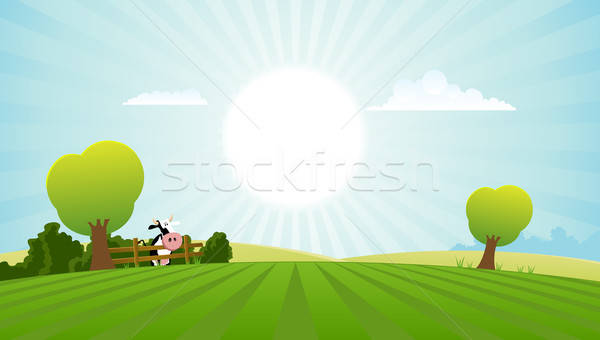 Dairy Cow In Summer Landscape Stock photo © benchart