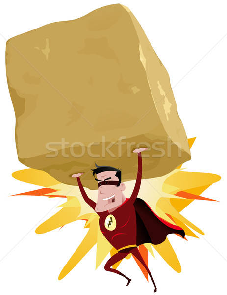 Red Superhero Raising Heavy Big Rock Stock photo © benchart