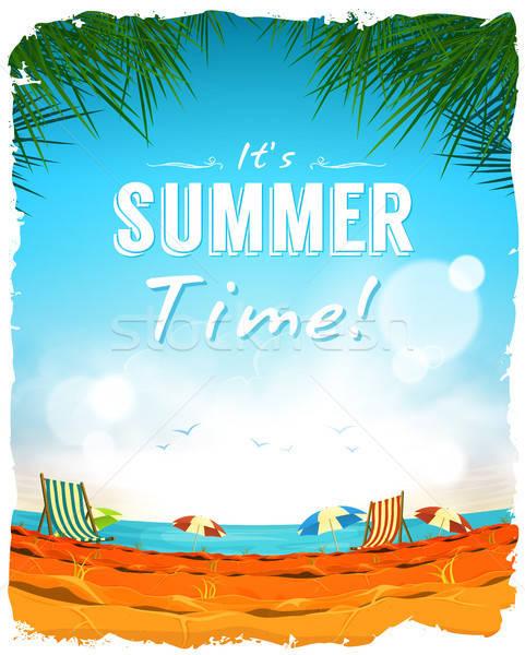 Stok fotoğraf: Yaz · zaman · poster · örnek · dizayn · tropikal · plaj