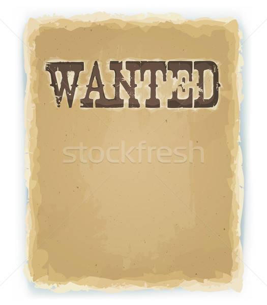 Gezocht poster vintage illustratie oude Stockfoto © benchart