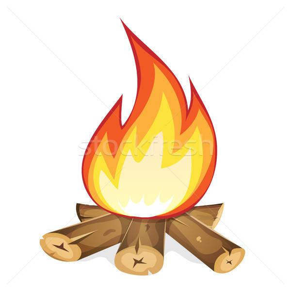 Brandend vreugdevuur hout illustratie cartoon tak Stockfoto © benchart