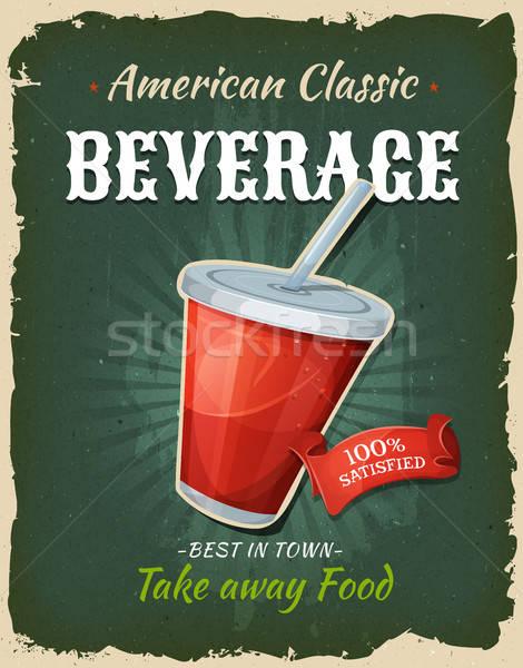 Retro fast food poster illustratie ontwerp Stockfoto © benchart