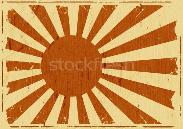 Klasszikus Japán zászló tájkép illusztráció retro Stock fotó © benchart