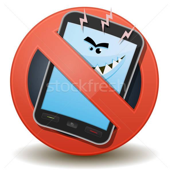 нездоровый мобильного телефона вредный волны иллюстрация Cartoon Сток-фото © benchart