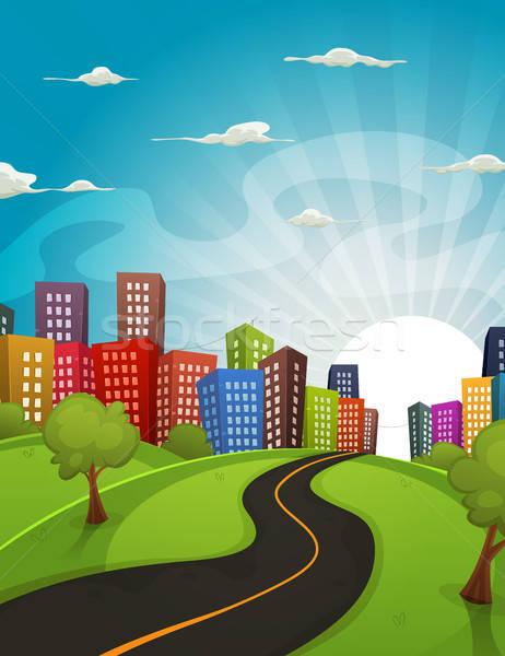 Centro de la ciudad Cartoon paisaje ilustración carretera conducción Foto stock © benchart