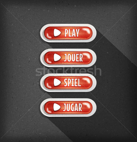 Play Buttons Design In Multiple Languages For Game Ui Stock photo © benchart