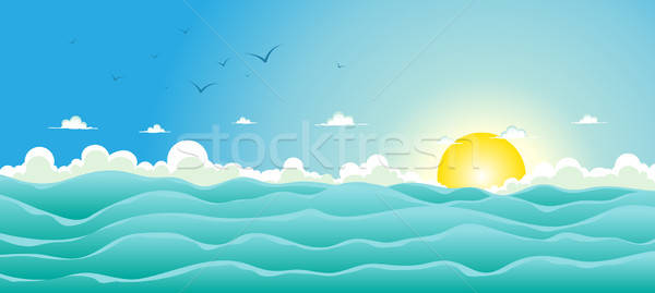 Zomer oceaan illustratie cartoon breed voorjaar Stockfoto © benchart