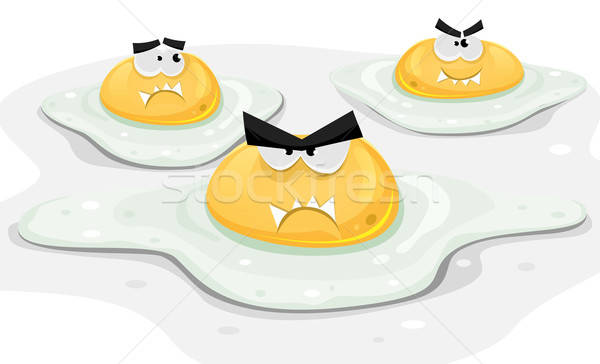 Angry Fried Chicken Eggs Stock photo © benchart