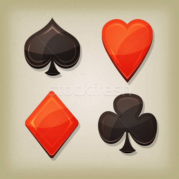 Vintage retro gioco d'azzardo carte icone illustrazione Foto d'archivio © benchart