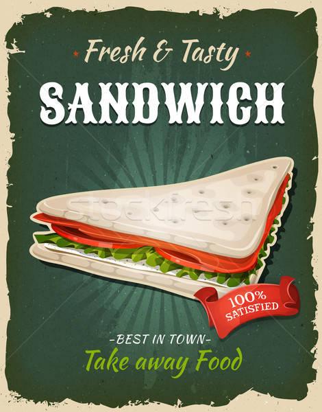 Retro Fast Food Swedish Sandwich Poster Stock photo © benchart