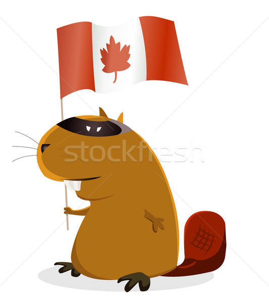 Canada dag illustratie cartoon bever viering Stockfoto © benchart