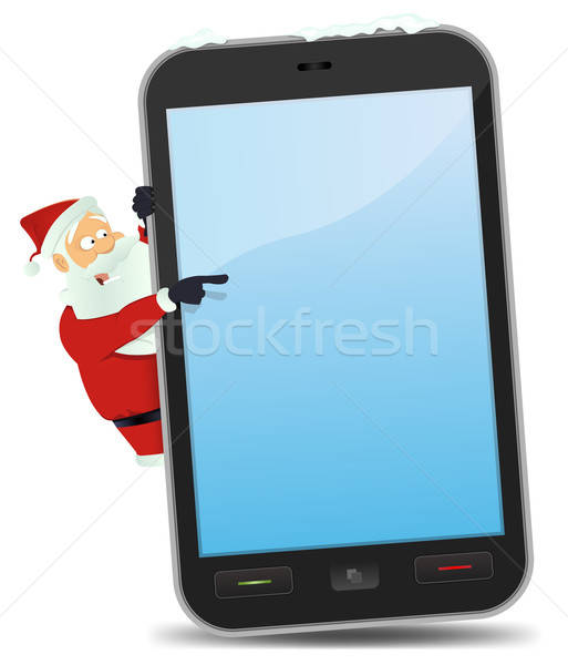 Santa Pointing Smartphone Stock photo © benchart
