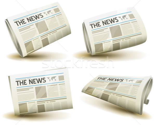 újság ikon szett illusztráció szett rajz minden nap Stock fotó © benchart