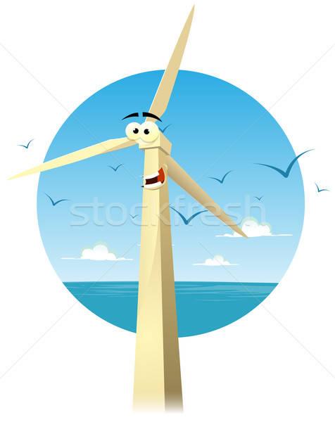 Cartoon heureux personnage illustration drôle éolienne Photo stock © benchart
