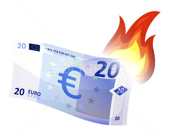 Euro Bill brandend illustratie cartoon crash Stockfoto © benchart