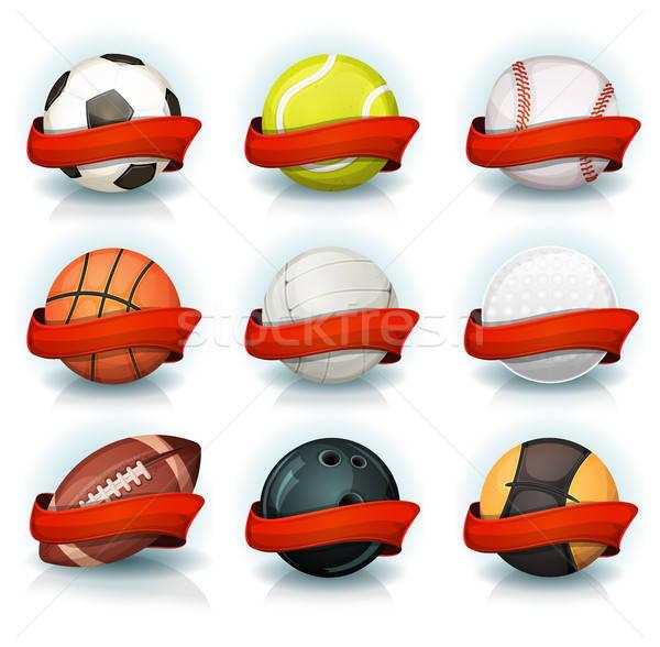 Ayarlamak spor kırmızı afişler örnek Stok fotoğraf © benchart