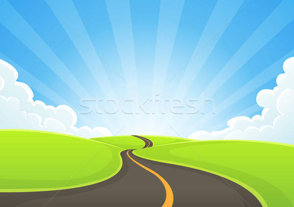 Country Road Snaking With Blue Sky And Sunbeams Stock photo © benchart