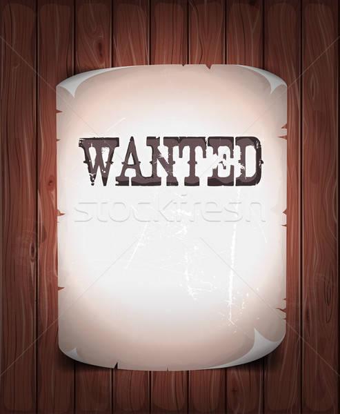 Wanted Sign On Wood Background Stock photo © benchart