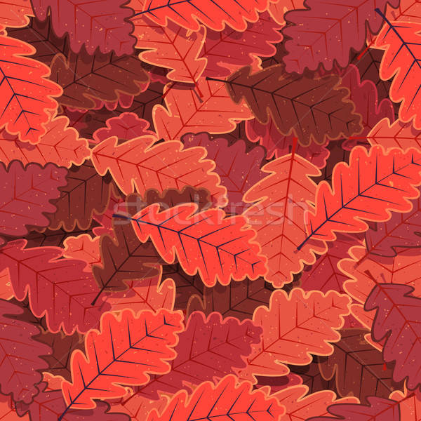 Stock photo: Seamless Winter Oak Tree Leaves Wallpaper