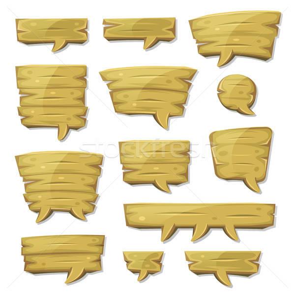 Cartoon madera ui juego ilustración Foto stock © benchart