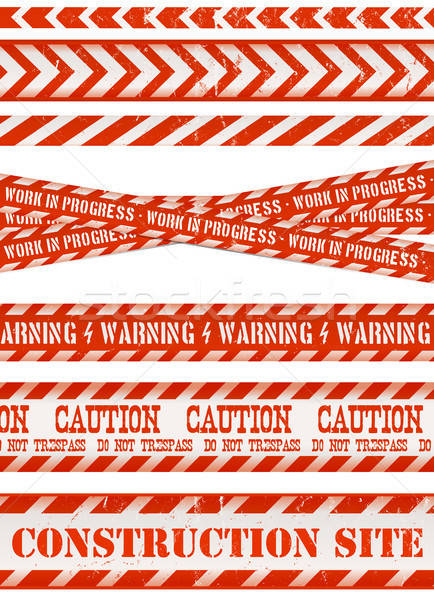 Work Line, Under Construction Site And Red And Blue Tapes Stock photo © benchart