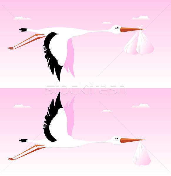Stork Delivering Baby - It's A Girl Stock photo © benchart