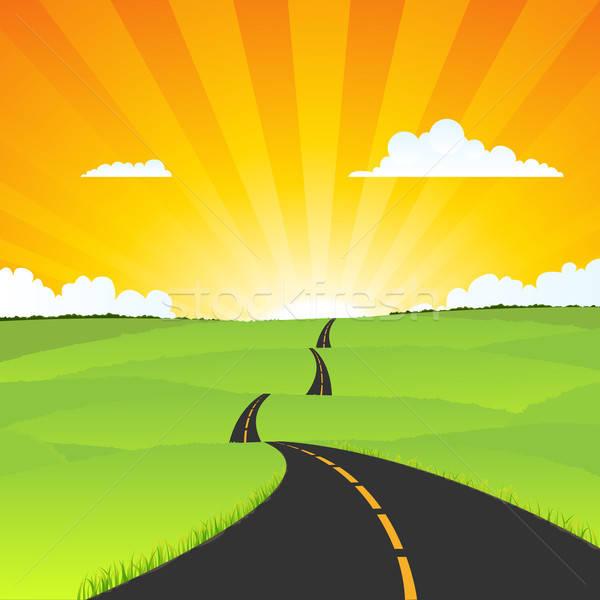Manzara örnek uzun karikatür yol Stok fotoğraf © benchart