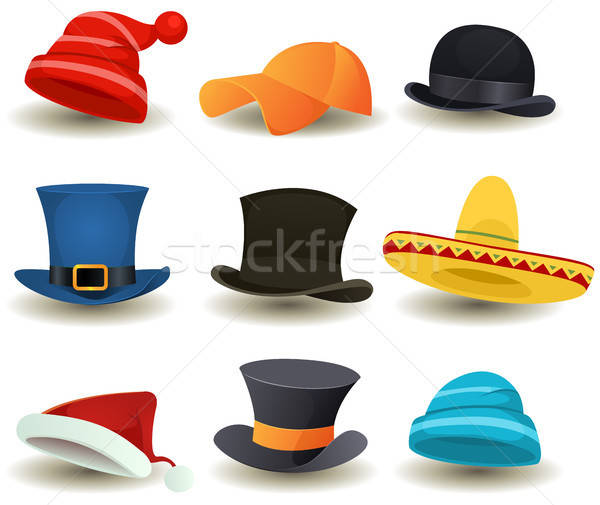 Caps, Top Hats And Other Head Wear Set Stock photo © benchart