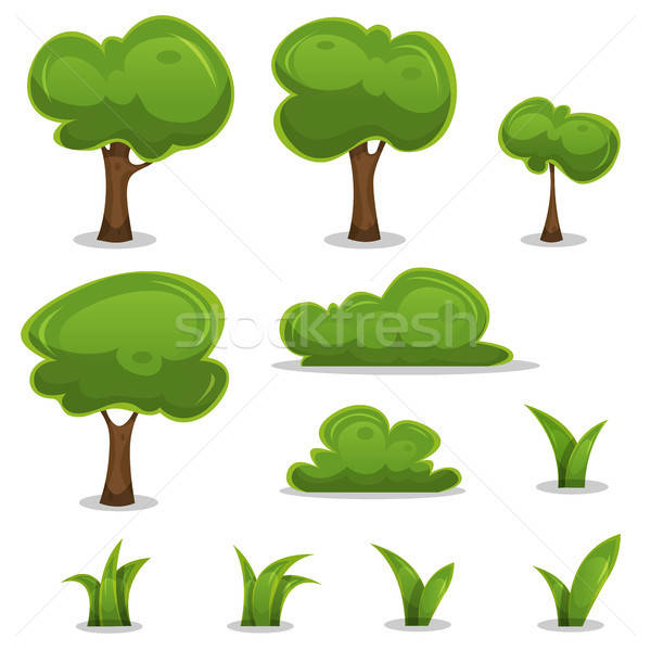 Cartoon Trees, Hedges And Grass Leaves Set Stock photo © benchart