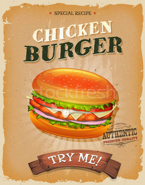 Grunge And Vintage Chicken Burger Poster Stock photo © benchart