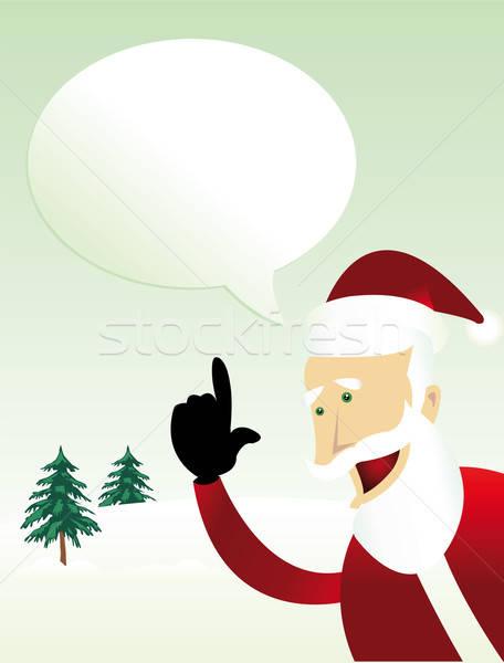 сообщение Дед Мороз иллюстрация счастливым речи пузырь древесины Сток-фото © benchart