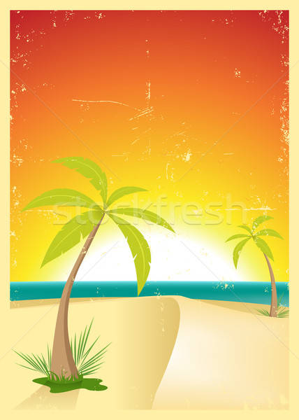 Exotique plage grunge carte postale illustration palmiers Photo stock © benchart