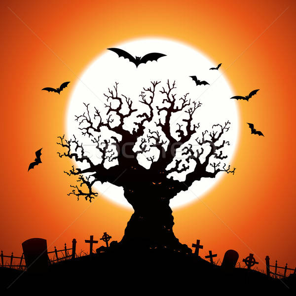 Halloween drzewo ilustracja przerażający zło oczy Zdjęcia stock © benchart