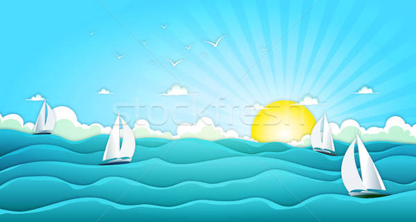 Sailing Boats In Wide Summer Ocean Stock photo © benchart