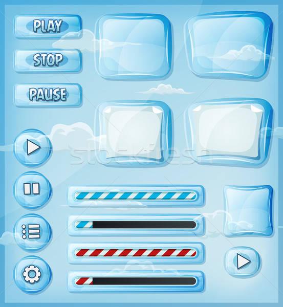 ガラス 透明な ui ゲーム 実例 ストックフォト © benchart