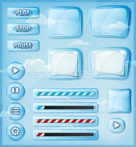 Glass Transparent Icons Set For Ui Game Stock photo © benchart