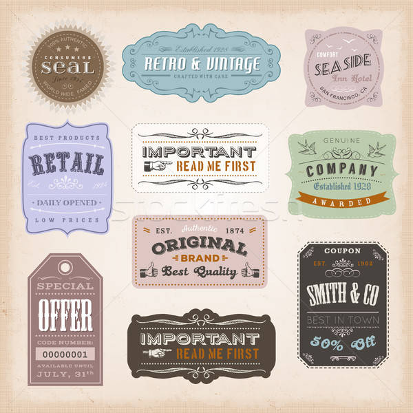 Vintage Labels Ans Signs Stock photo © benchart