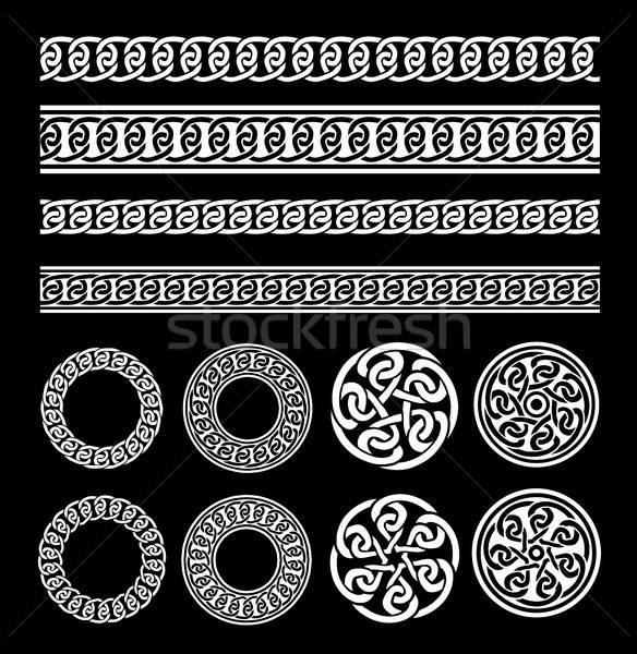 Kelta keretek minták gyűrűk szett illusztráció Stock fotó © benchart