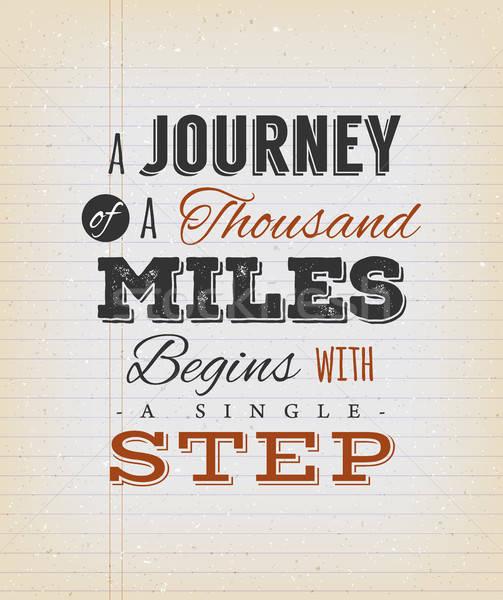 путешествия тысяча мили шаг иллюстрация вдохновляющий Сток-фото © benchart