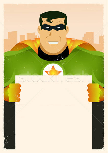 Comic Super Hero Holding Sign Stock photo © benchart