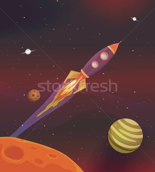 Cartoon Spaceship Flying Into Galaxy Stock photo © benchart