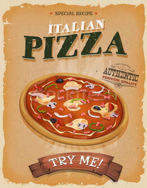Grunge And Vintage Pizzeria Poster Stock photo © benchart