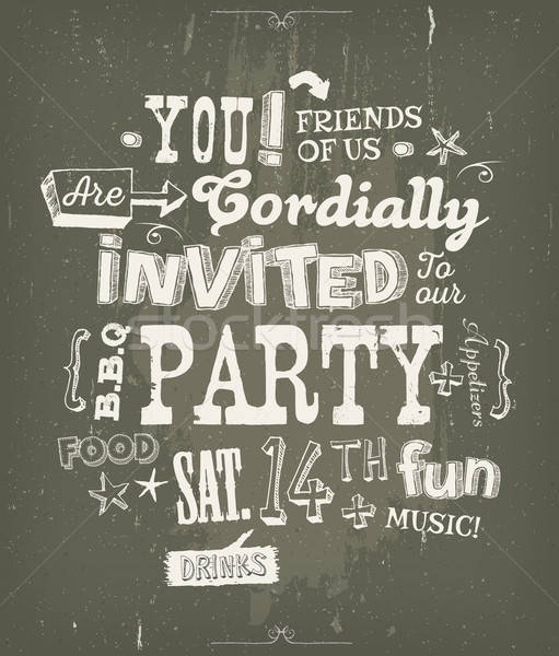 Party Invitation Poster On Chalkboard Background Stock photo © benchart