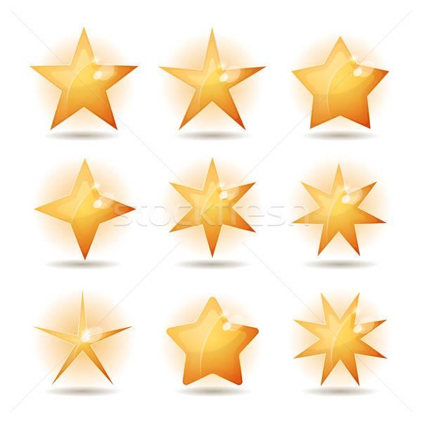 Gold Stars Icons Set Stock photo © benchart
